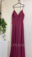 A-Line V-neck Floor-Length Chiffon Evening Dress With Ruffle Split Front (017208782)