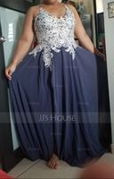 V-neck Floor-Length Chiffon Prom Dresses With Lace Beading Sequins Split Front (272197899)