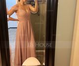 A-Line/Princess Off-the-Shoulder Floor-Length Chiffon Lace Bridesmaid Dress With Ruffle (266177057)