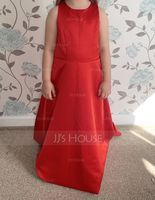 A-Line Scoop Neck Floor-Length Satin Junior Bridesmaid Dress (009208579)