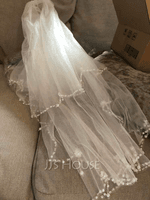 Two-tier Beaded Edge Elbow Bridal Veils With Faux Pearl (006203737)