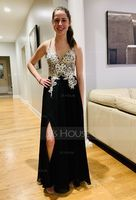 A-Line V-neck Floor-Length Chiffon Evening Dress With Lace Beading Sequins Split Front (017196067)