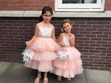 A-Line/Princess Knee-length Flower Girl Dress - Satin/Tulle/Lace Sleeveless Scoop Neck With Sash/Beading (Detachable sash) (010131714)