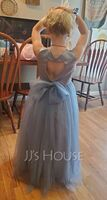 Ball-Gown/Princess Floor-length Flower Girl Dress - Satin/Tulle Sleeveless Scoop Neck With Bow(s)/Back Hole (010254253)