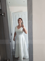 V-neck Asymmetrical Satin Wedding Dress (265250689)