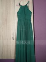 A-Line/Princess Scoop Neck Floor-Length Chiffon Bridesmaid Dress With Ruffle (007105587)