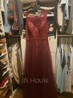 A-Line V-neck Floor-Length Tulle Evening Dress With Lace Sequins (017235881)