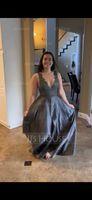 V-neck Floor-Length Satin Prom Dresses (272214559)