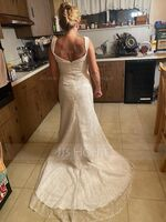 Trumpet/Mermaid Sweetheart Sweep Train Lace Wedding Dress With Ruffle (002127337)