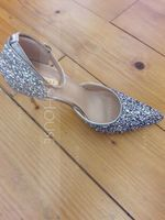 Women's Sparkling Glitter Spool Heel Closed Toe Pumps (273195566)
