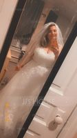 One-tier Elbow Bridal Veils With Beaded Edge (006036605)