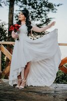 V-neck Asymmetrical Chiffon Lace Wedding Dress (265255345)