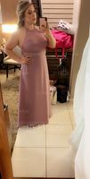 A-Line/Princess Scoop Neck Floor-Length Chiffon Bridesmaid Dress With Beading (007153351)