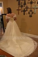 Off-the-Shoulder Court Train Tulle Lace Wedding Dress With Ruffle (265202170)