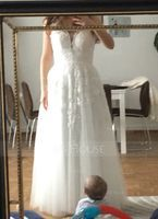 V-neck Floor-Length Tulle Wedding Dress With Beading Sequins (265193255)