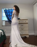 Trumpet/Mermaid Scoop Neck Chapel Train Stretch Crepe Wedding Dress With Lace (265195498)