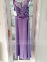 A-Line/Princess Sweetheart Floor-Length Chiffon Bridesmaid Dress With Ruffle (266177044)