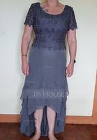 A-Line Scoop Neck Asymmetrical Chiffon Lace Mother of the Bride Dress With Cascading Ruffles (008179195)
