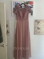A-Line Scoop Neck Floor-Length Chiffon Prom Dresses (018234448)