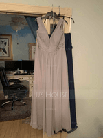 A-Line V-neck Floor-Length Chiffon Bridesmaid Dress With Ruffle Bow(s) Pockets (007206456)