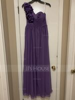 A-Line One-Shoulder Floor-Length Chiffon Prom Dresses With Ruffle Flower(s) (018112655)