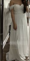 A-Line/Princess Off-the-Shoulder Floor-Length Chiffon Wedding Dress With Ruffle Split Front (002153450)