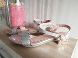 Women's Sparkling Glitter Low Heel Sandals Peep Toe With Buckle shoes (087207012)
