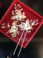 Beautiful Alloy Hairpins With Venetian Pearl (Set of 3) (042163435)