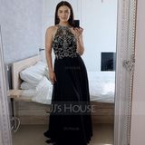 A-Line High Neck Floor-Length Chiffon Prom Dresses With Beading (018187227)