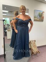 A-Line V-neck Floor-Length Chiffon Lace Mother of the Bride Dress With Beading Sequins (008255199)
