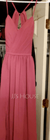 A-Line Sweetheart Floor-Length Chiffon Bridesmaid Dress With Ruffle Split Front (266195912)