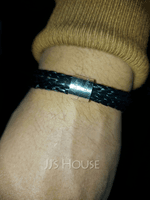 Men Braided Leather Bracelets With Custom Beads In Silver - Father's Day Gifts (106218407)
