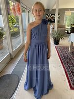 A-Line One-Shoulder Floor-Length Chiffon Junior Bridesmaid Dress With Ruffle Flower(s) (009217825)
