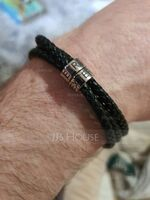 Custom Platinum Plated Men Braided Leather Bracelets With Custom Beads In Silver - Gifts For Him (106250633)
