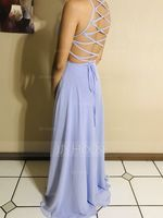 A-Line Scoop Neck Floor-Length Chiffon Prom Dresses With Split Front (018220244)