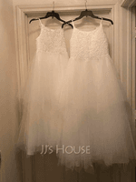 A-Line Scoop Neck Floor-Length Tulle Lace Junior Bridesmaid Dress With Lace (009256462)
