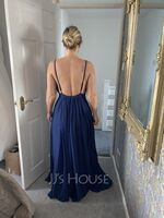 A-Line V-neck Floor-Length Prom Dresses With Split Front (018254396)