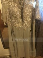 A-Line Scoop Neck Tea-Length Chiffon Lace Mother of the Bride Dress With Sequins (008217285)