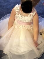 A-Line Knee-length Flower Girl Dress - Tulle/Lace Sleeveless Scoop Neck With Sash/Beading/Back Hole (Detachable sash) (010153235)