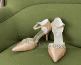 Women's Silk Like Satin Stiletto Heel Closed Toe Pumps (047096520)