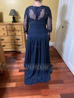 Scoop Neck Floor-Length Chiffon Lace Mother of the Bride Dress With Ruffle (267203669)
