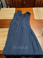 Scoop Neck Floor-Length Chiffon Lace Junior Bridesmaid Dress (268219434)
