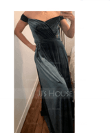 A-Line Off-the-Shoulder Floor-Length Velvet Evening Dress With Split Front (017209160)