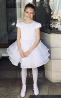 A-Line/Princess Knee-length Flower Girl Dress - Organza/Satin Sleeveless Scoop Neck With Beading/Bow(s) (010092989)
