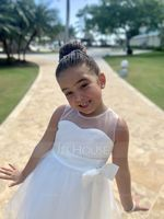 Knee-length Flower Girl Dress - Satin Tulle Sleeveless Jewel With Bow(s) Pleated Back Hole (269193639)