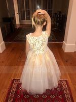 A-Line/Princess Asymmetrical Flower Girl Dress - Tulle/Lace Sleeveless Scoop Neck With Lace (010119311)