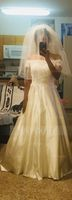 Ball-Gown Off-the-Shoulder Sweep Train Satin Wedding Dress (002124282)