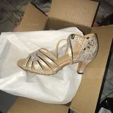 Women's Satin Heels Latin With Rhinestone Dance Shoes (053205415)