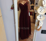 A-Line V-neck Floor-Length Bridesmaid Dress With Split Front (266256668)