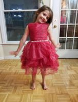 A-Line/Princess Knee-length Flower Girl Dress - Organza Sleeveless Scoop Neck With Beading/Pleated (010143256)